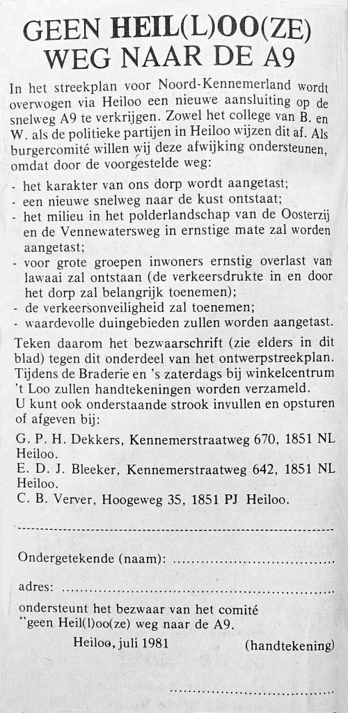 In 1981 werd aan  bewoners van Heiloo gevraagd om tegen de afslag A9-Heiloo te stemmen